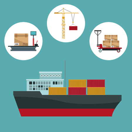 color background with circular frame of icons storage logistics and closeup freighter ship with containers vector illustration