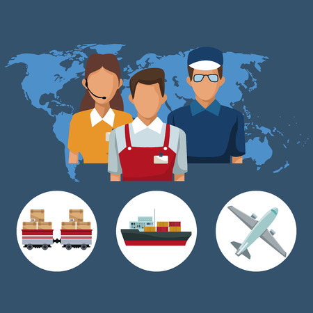 color silhouette world map background with icons people logistics and transport vehicles vector illustration Illustration