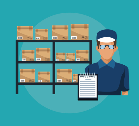 color background with shelves with sealed package and deliver courier man and order vector illustration vector illustration Illustration