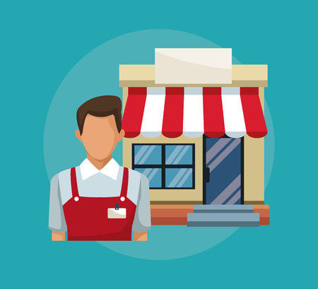 color background with salesman and facade store awning vector illustration Çizim