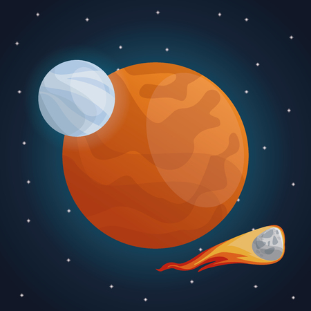 color space landscape background with meteor and view mars planet vector illustration