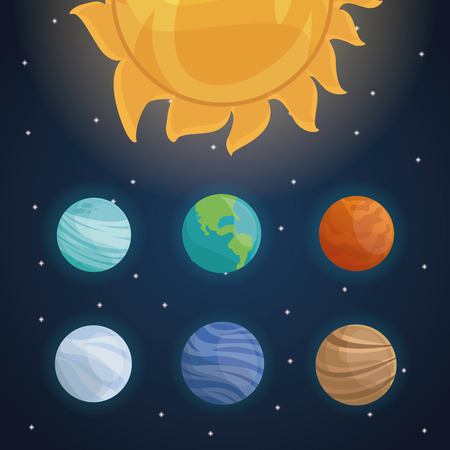 Color Space Landscape Background With Solar System And Planets Vector Illustration