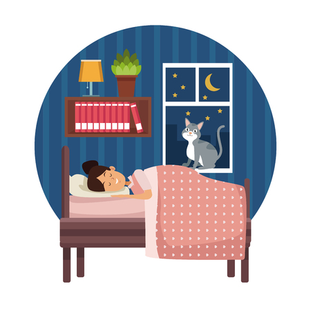 white background with circular colorful scene girl sleep with blanket in bedroom vector illustration