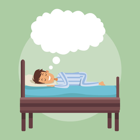 colorful scene boy dreaming in bed at night with cloud callout vector illustration Ilustração