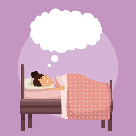 다채로운 장면 침실 소녀와 담요 구름 설명 선 벡터 일러스트와 함께 자