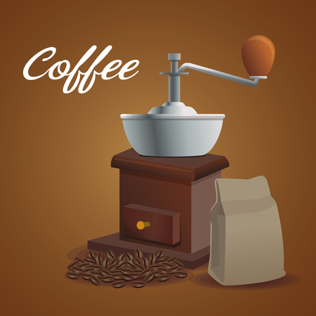 color poster grinding with crank and package and coffee beans vector illustration