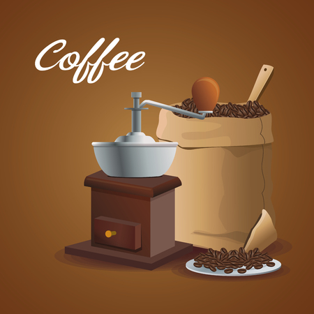 color poster grinding with crank and sack container of coffee with beans vector illustration Illustration