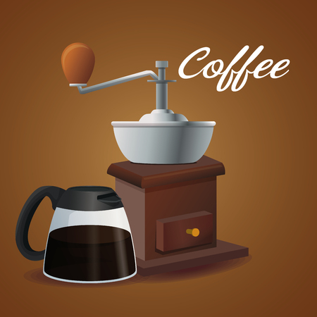color poster glass jar of coffee with handle and grinding with crank vector illustration