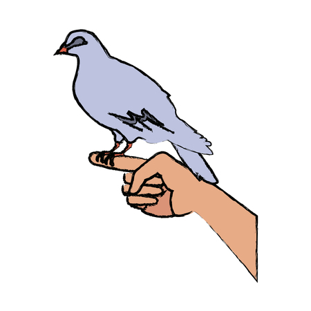 dove in hand peace liberty concept icon vector illustration