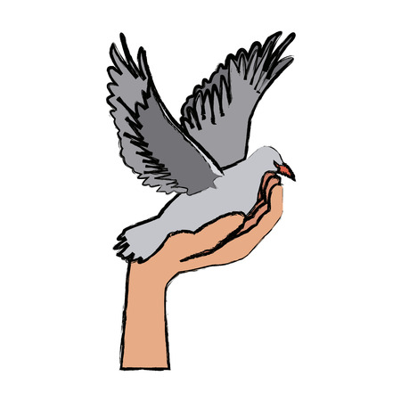 perdonar: hand holding dove flying international day of peace vector illustration