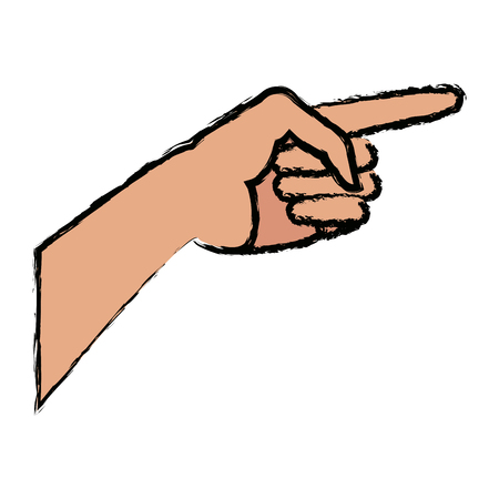 human hand gesture of pointing somewhere vector illustration