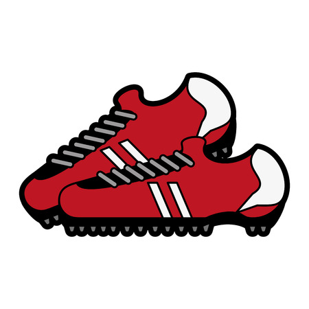 Cleats shoes soccer or football related icon image vector illustration design Illustration