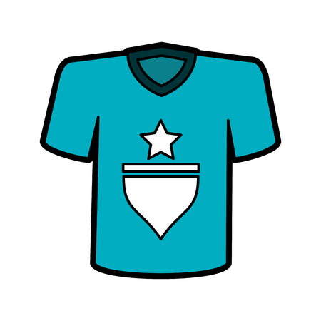 T-shirt with star icon image vector illustration design
