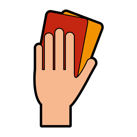 referee hand with red and yellow card soccer or football related icon image vector illustration design