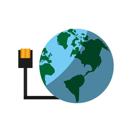 worl: globe and usb plug global communications concept icon image vector illustration design