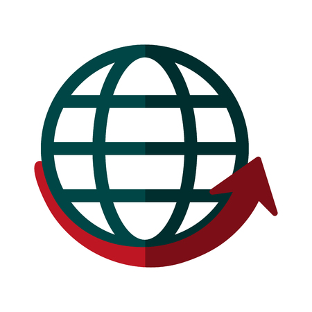 worl: globe and arrow global communications concept icon image vector illustration design Illustration