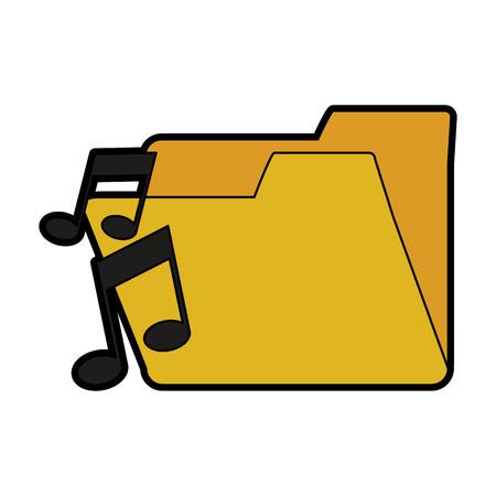 quaver: music note with file folder icon image vector illustration design