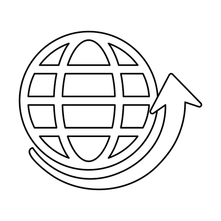 worl: Globe and arrow global communications concept icon image vector illustration design