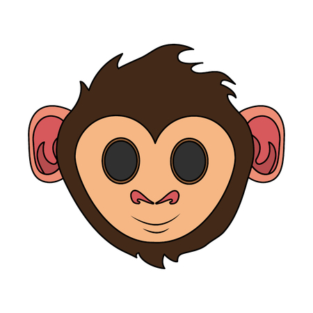 happy cute expressive monkey cartoon icon image vector illustration design
