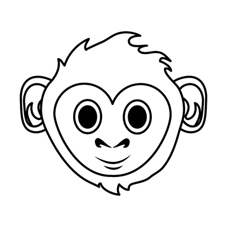 happy cute expressive monkey cartoon icon image vector illustration design black line