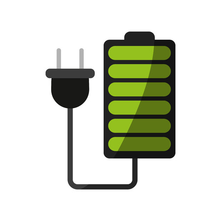 battery with cord and plug icon image vector illustration design Illustration