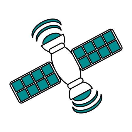 Satelitarnej ewidencyjnej światowej ikony projekta ilustracyjnej grafiki wektorowa sylwetka
