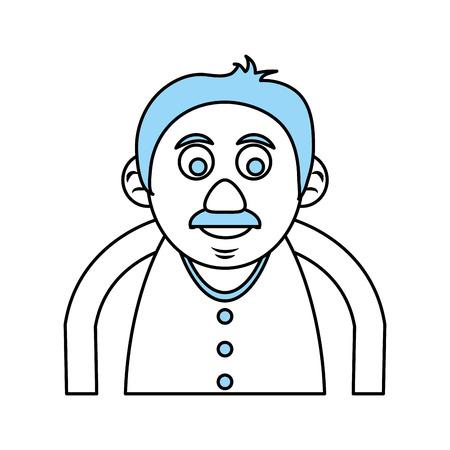 Flat line mnocromatic old man over white background vector illustration Ilustração