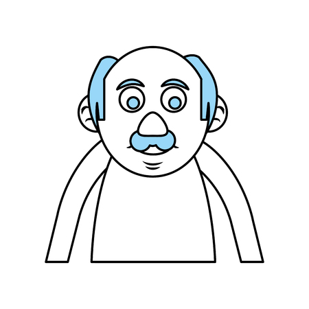Flat line old man monocromatic over white background vector illustration