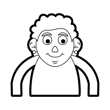 Flat line uncolored  old woman over white background vector illustration