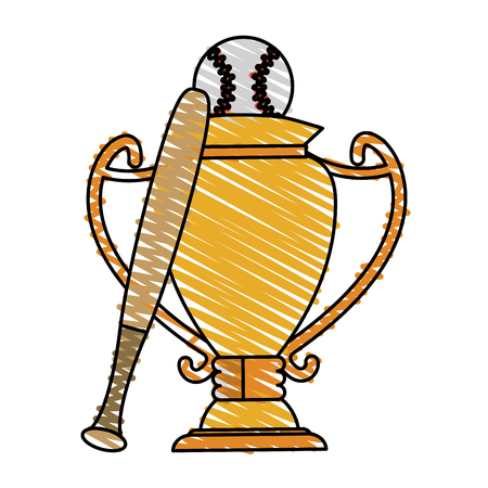 Colorful trophy and baseball equipment doodle over white background vector illustration