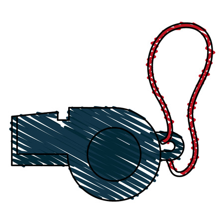 umpire: Colorful whistle doodle over white background vector illustration