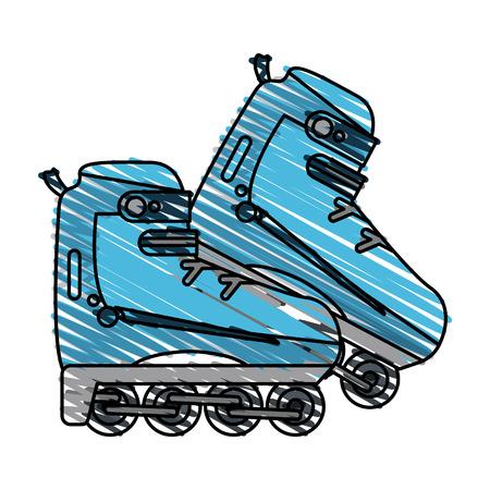 Colorful rollerblades doodle over white background vector illustration Illustration
