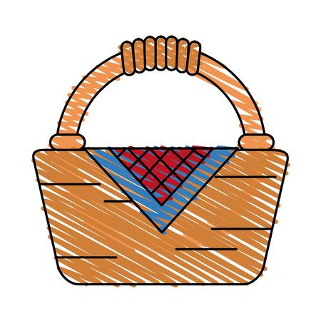 Colorful hamper doodle over white background vector illustration