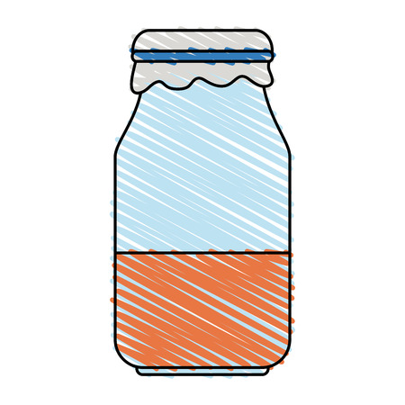 Colorful jar doodle over white background vector illustration