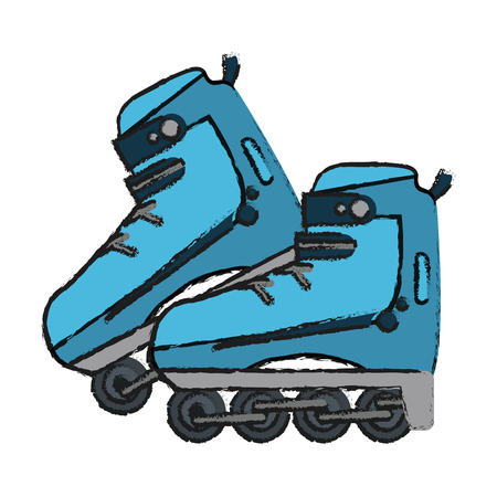 rollerblades: Colorful rollerblades doodle over white background vector illustration Illustration