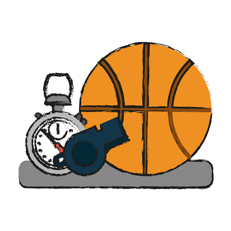 Colorful basketball, whistle and stopwatch doodle over white background vector illustration Illustration