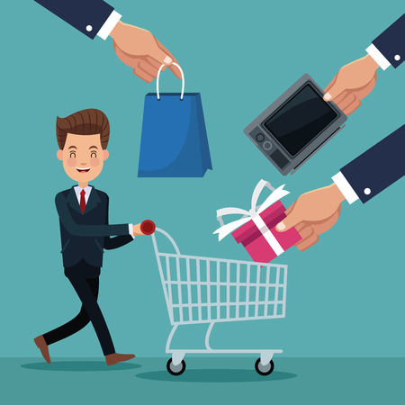 color background of closeup executive man with shopping cart and hands holding items shopping vector illustration