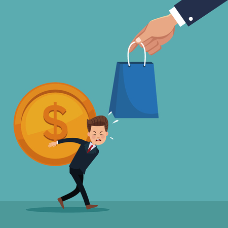 floating: color background of executive loading coin with shopping bag vector illustration