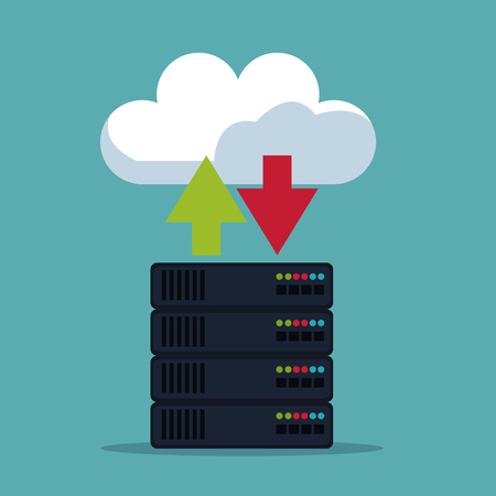 color background of server box with cloud storage vector illustration Çizim