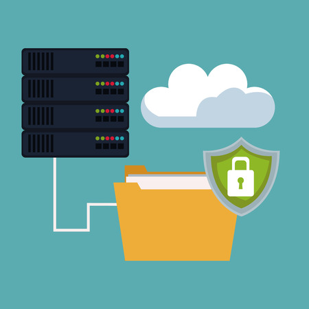 color background of server box connected to folder and shield padlock with cloud storage vector illustration