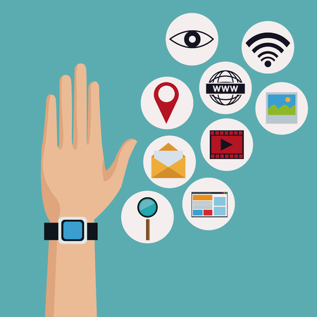 worl: color background of hand with modern smartwatch with icons elements technology wireless vector illustration