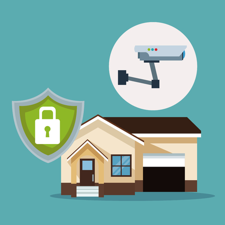 color background of smarthouse and icon wireless security vector illustration Illustration