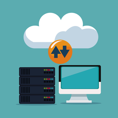 color background of device display computer with server rack and cloud storage vector illustration Illustration