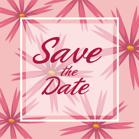 romantic date: colorful card background with decorative pink blossom and square frame save the date text vector illustration Illustration