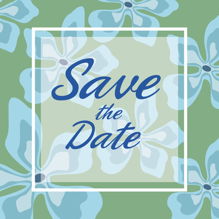 romantic date: colorful card background with decorative blue blossom and square frame save the date text vector illustration