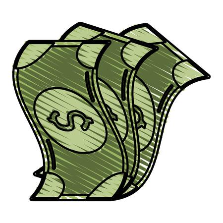 costs: Colorful bills doodle over white background vector illustration