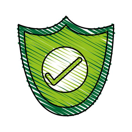 Colorful shield doodle over white background vector illustration Illustration