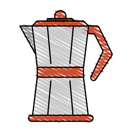 decaf: Colorful coffee pot doodle over white background vector illustration Illustration