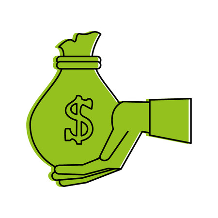 Green monocromatic hand and money bag design over white background vector illustration
