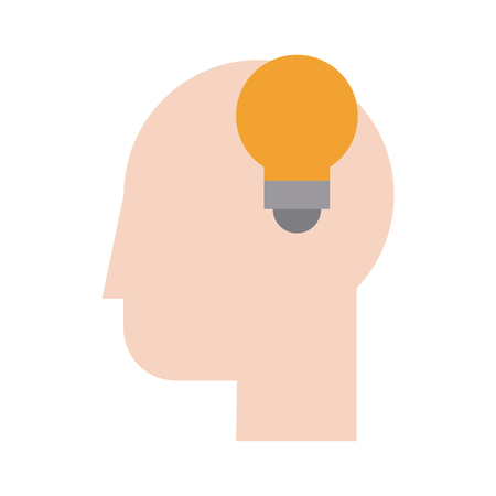smart boy: Human head profile sideview with lightbulb  inside icon image vector illustration design